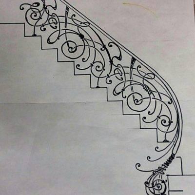 Кованые перила для балкона, лестниц, крыльца П-146